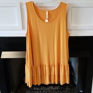 Tops - Boutique 3X Mustard yellow ruffle hem tunic